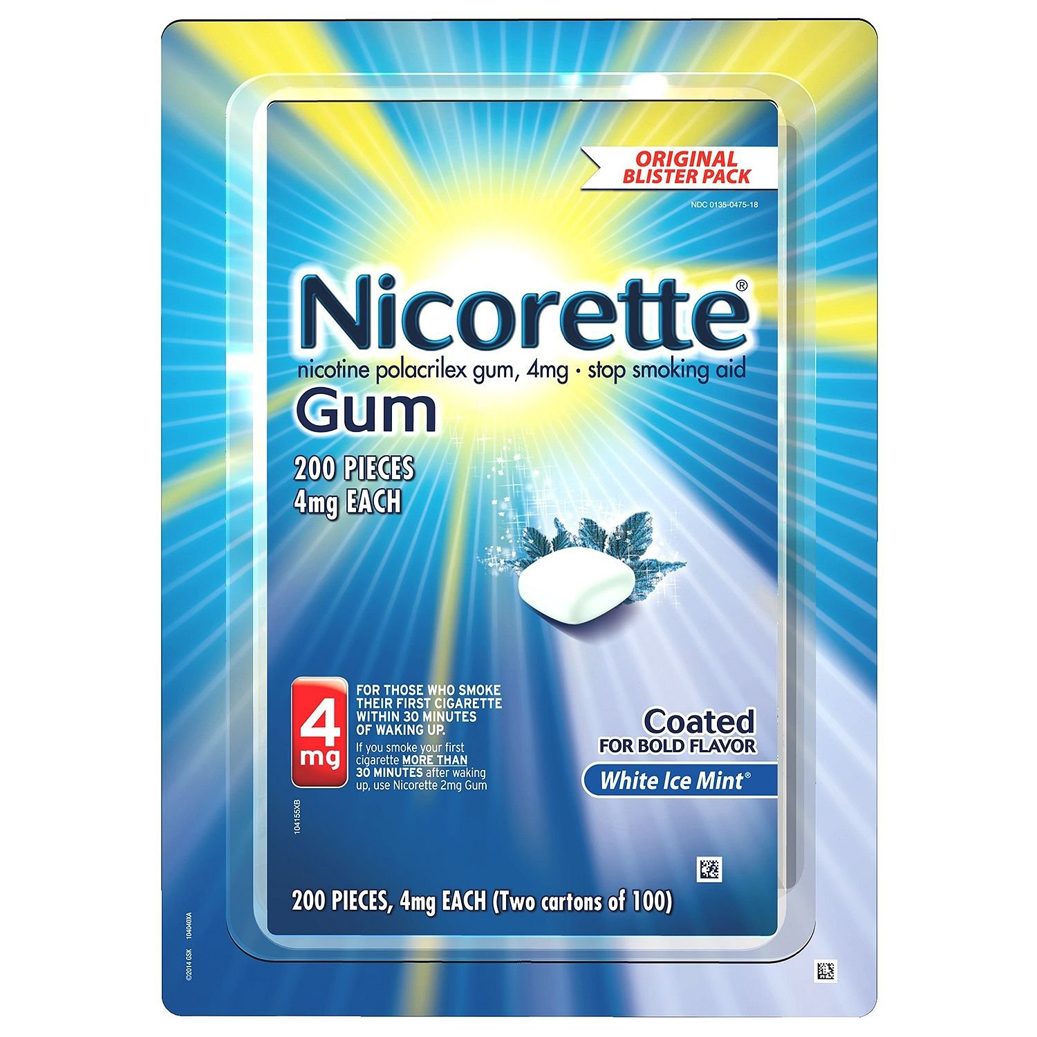 Nicorette Nicotine Gum White Ice Mint 4 milligram Stop Smoking Aid - Special Value 2 Pack ( 400 Count Total )