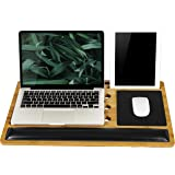 LapGear BamBoard Pro Lap Desk with Wrist Rest, Mouse Pad, and Phone Holder - Natural Bamboo - Fits up to 17.3 Inch…