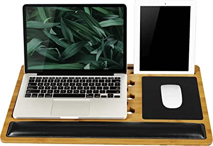 LapGear BamBoard Pro Lap Desk with Wrist Rest, Mouse Pad, and Phone Holder - Natural Bamboo - Fits up to 17.3 Inch Laptops and Most Tablets - Style No. 77101