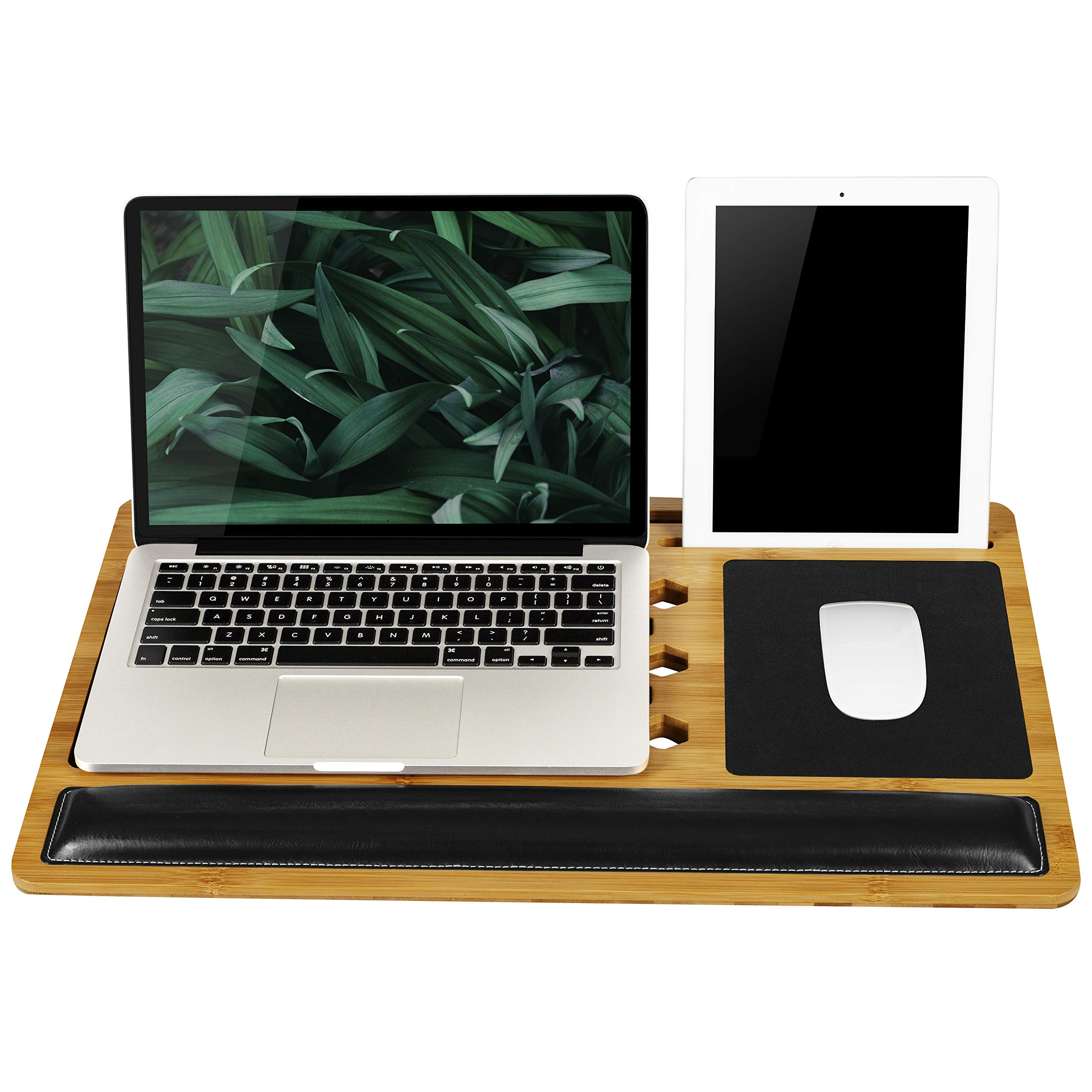 LapGear Bamboard Pro Lap Desk with Wrist Rest, Mouse Pads, and Phone Holder - Fits Up to 17.3 Inch Laptops and Most Tablet Devices - Style No. 77101 by LapGear (Image #1)