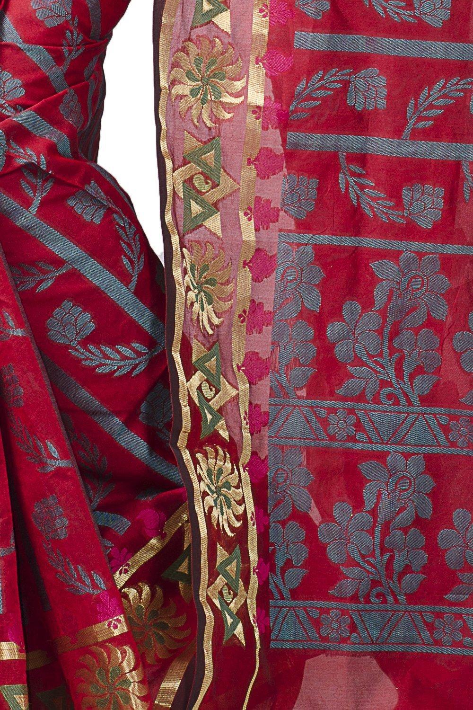 Chandrakala Women's Cotton Silk Banarasi Saree Free Size Red by Chandrakala (Image #3)
