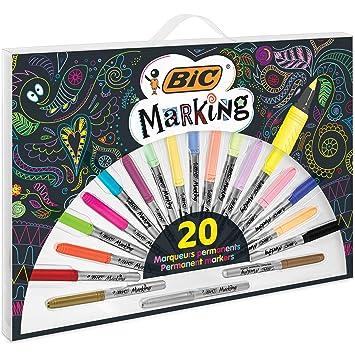 BIC Marking marcadores permanentes - Varios colores, Incluidos 3 Metálicos, Estuche de 20