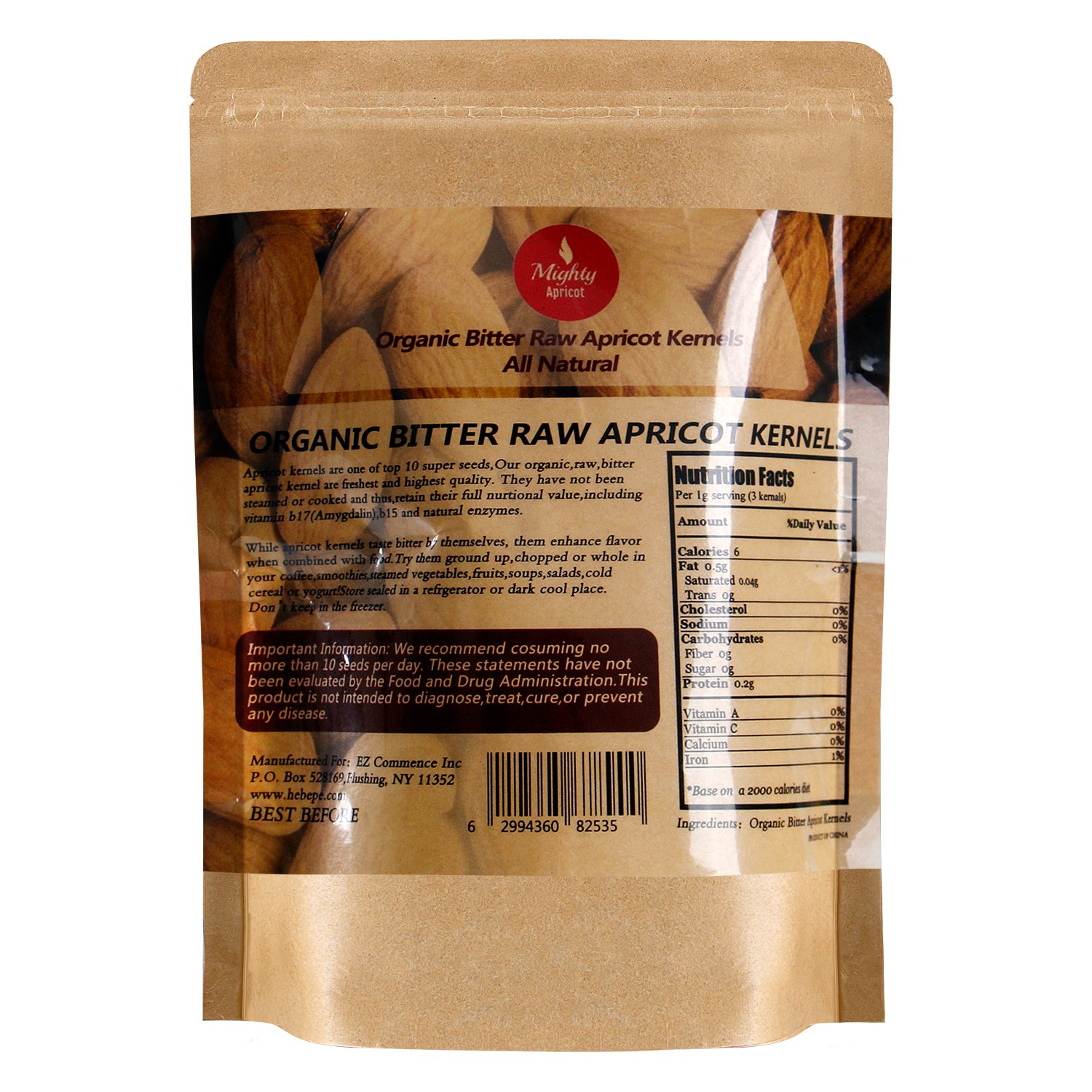 Mighty Apricot Bitter Apricot Kernels(1LB) 16oz by Mighty Apricot