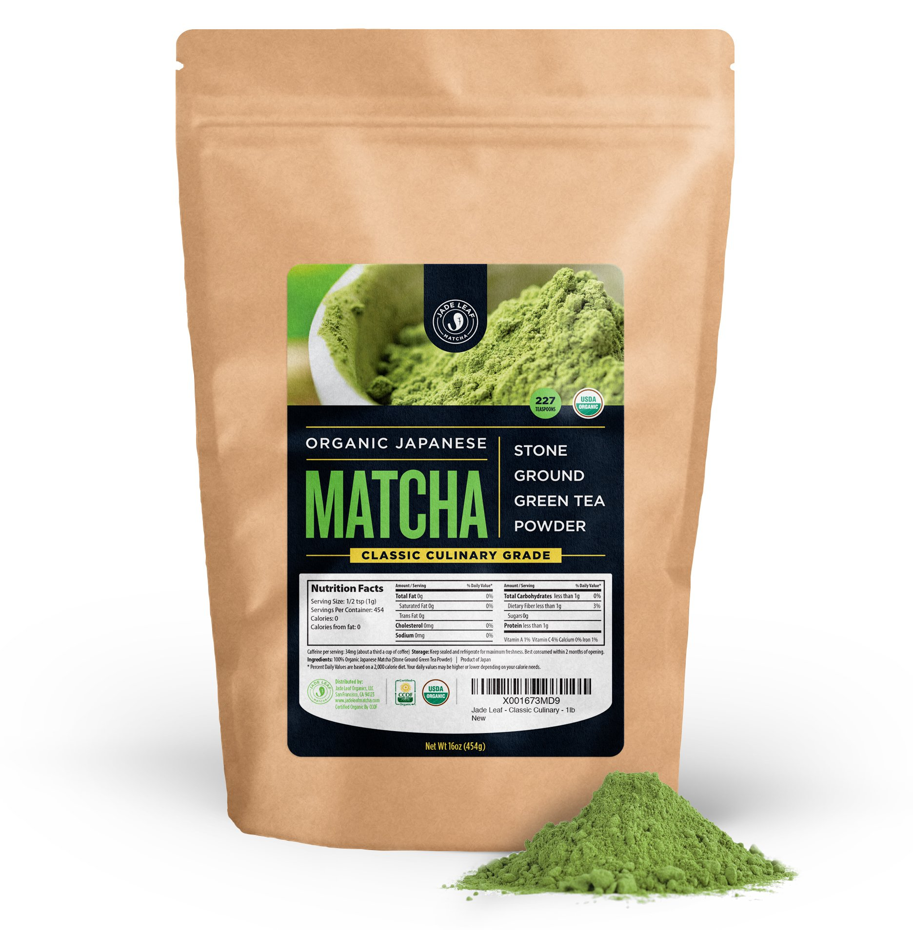 Jade Leaf Matcha Green Tea Powder - USDA Organic, Authentic Japanese Origin - Classic Culinary Grade (Smoothies, Lattes, Baking, Recipes) - Antioxidants, Energy [1lb Bulk Size] by Jade Leaf Matcha