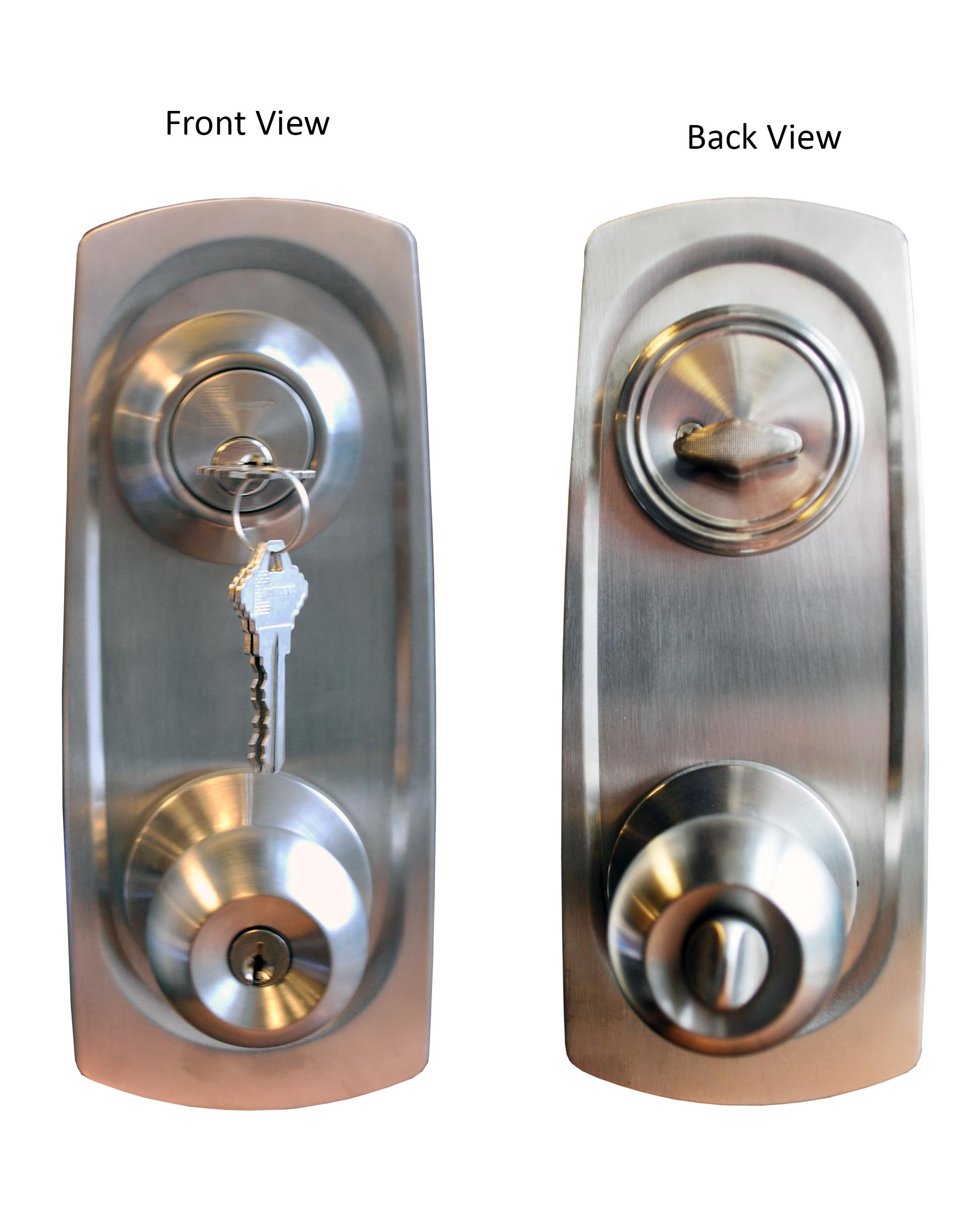 Constructor Chronos Combo Entry and Deadbolt Single Cylinder Keyed-Alike Stainless Steel Finish Door Lever Lock Set Knob Handle Set With Plates
