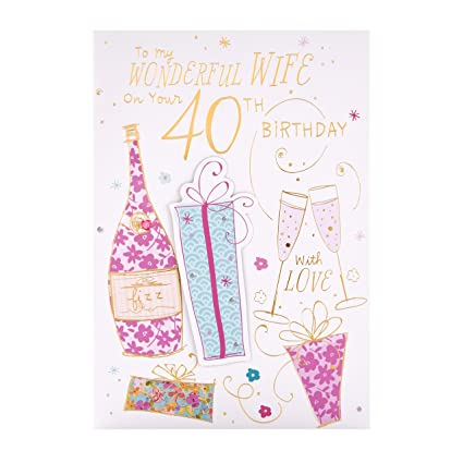 Tarjeta de felicitación de 40 cumpleaños para esposa de ...