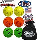 "Wiffle Balls Yellow, Green & Orange Official Size Baseballs ""Matty's Toy Stop"" Exclusive Gift Set Bundle with Storage Bag - 6 Pack (2 Yellow, 2 Green & 2 Orange)"