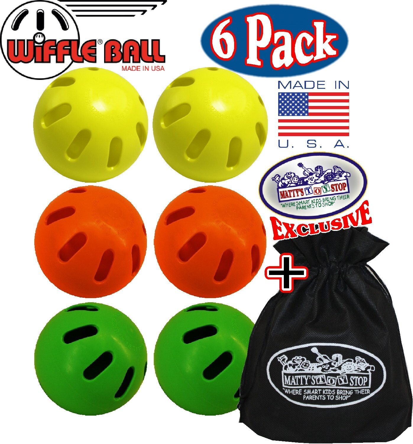 Matty's Toy Stop Wiffle Balls Yellow, Green & Orange Official Size Baseballs Set Bundle with Storage Bag - 6 Pack (2 Yellow, 2 Green & 2 Orange)