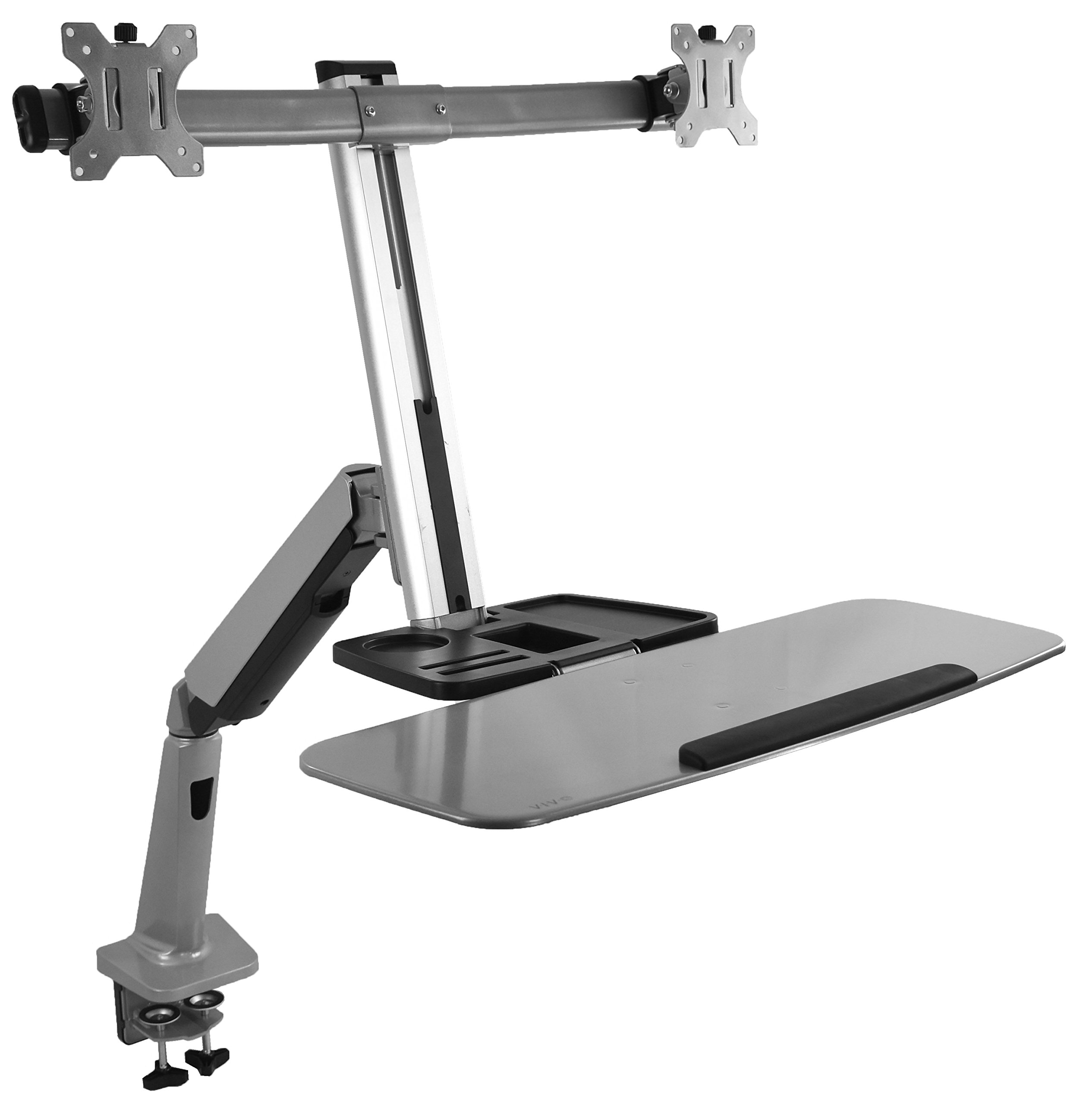 VIVO Dual Monitor & Keyboard Counterbalance Sit-Stand Desk Mount   Ergonomic Standing Transition Workstation for 13'' to 27'' Screens (STAND-SIT2S)