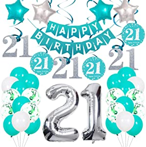 21st Birthday Decorations, Happy 21st Birthday Decorations for Women Men Birthday Party Supplies Teal Theme Bday Decor for Her Him Girls Boys Including Happy Birthday Banner, Number 21, Latex Balloons