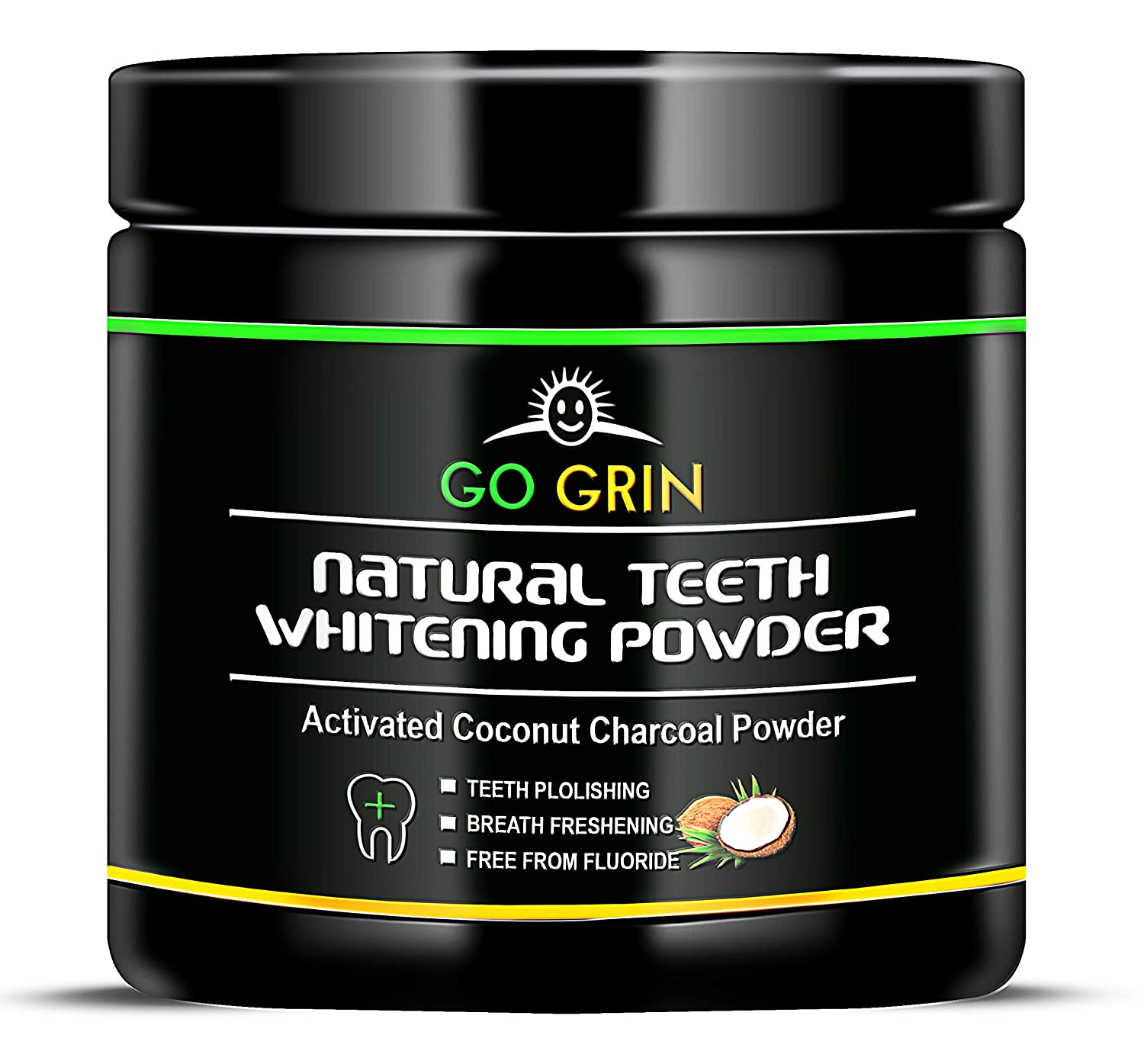 Activated Charcoal Teeth Whitening Powder 60 gram all Natural Organic Calcium Bentonite Clay Remineralizing Peppermint Oil for Flavor Freshens Breath Active Black Charcole Whitener