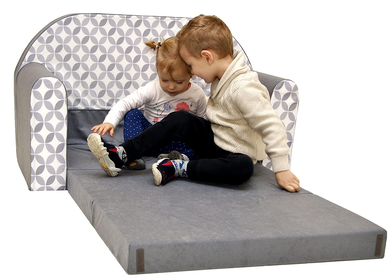 Minisofa Kindersofa Kindercouch Schlafsofa Sofabett Mini Couch mit Kissen und Sitzkissen LILA EULEN