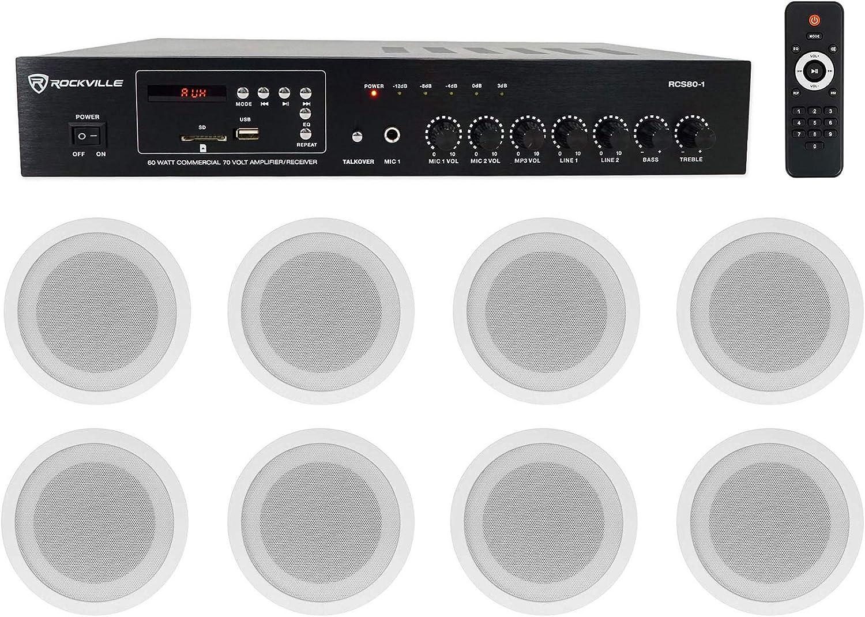 """Rockville Commercial 70v Amp+(8) White 5"""" Ceiling Speakers 4 Restaurant/Bar/Cafe"""