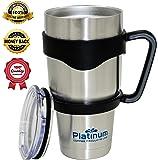 Premium Double Stainless Steel Tumbler with Handle Vacuum Double Wall Vacuum Sealed 30 oz / 887ML No Sweat Travel Mug Thermos BPA Free- Slim - Car Fit #1 Coffee Tumbler & Handle Platinum UMD