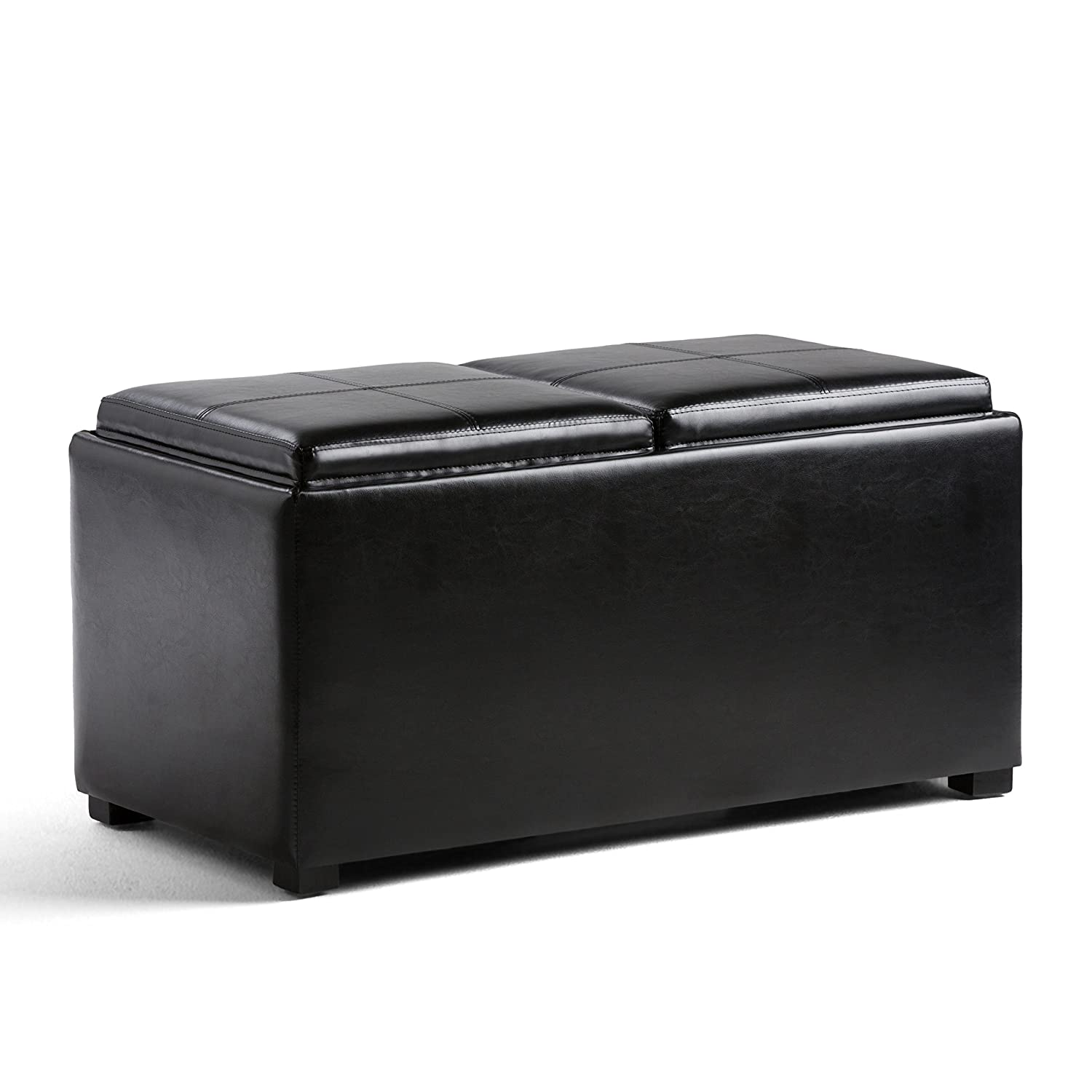 Simpli Home AY-F-15B-BL Avalon 35 inch Wide ContemporaryStorage Ottoman in Midnight Black Faux Leather