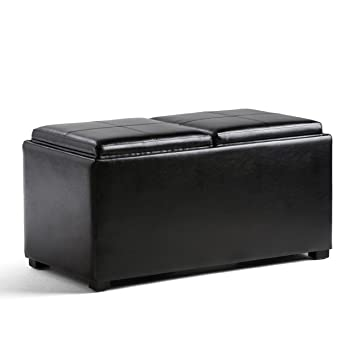 Wondrous Simpli Home Ay F 15B Bl Avalon 35 Inch Wide Contemporary Rectangle 5 Pc Storage Ottoman In Midnight Black Faux Leather Ibusinesslaw Wood Chair Design Ideas Ibusinesslaworg