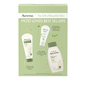 Aveeno Most Loved Best Sellers Skincare Set with Daily Moisturizing Body Wash, Positively Radiant Brightening Daily Scrub, and Daily Moisturizing Lotion, Gift Set for Women, 3 items