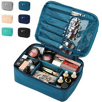 Amazon.com: Bolsa de maquillaje de viaje, impermeable, con ...