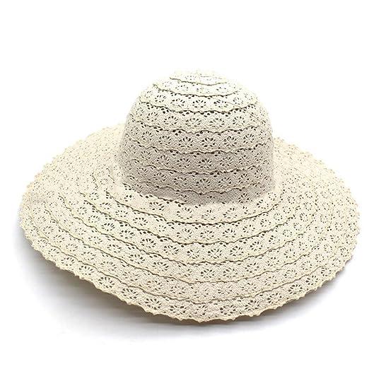 22f3272ff42 Women Summer Cotton Big Brim Anti UV Face Cover Sun Visor Beach Hat Cap  UPF50+ (