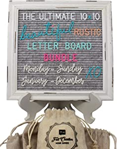 Rustic Felt Letter Board Ultimate Bundle Farmhouse Vintage White Wood Frame and Stand by Felt Creative Home Goods (Gray, 10x10 Inches)