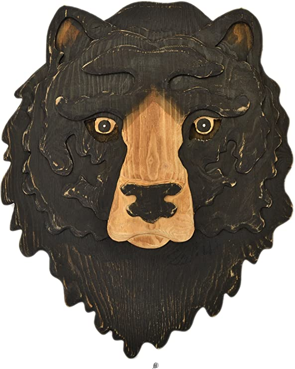 "Hand Carved Painted 18/"" Wood Black Bear Lodge Cottage Decor Wall Statue Art"