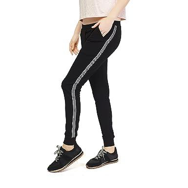 34452c95 ZEYO Black (Side Stripe) Track Pant for Women Cotton Yoga Pant for Gym -  Walk - Workout - Sports