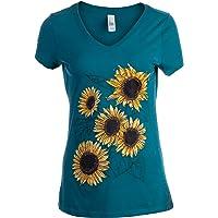 Sunflower Sketch | Blooming Flowers Garden Floral Art Gardening V-Neck T-Shirt for Women