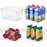 EAMAOTT Clear Plastic Storage Organizer Container Bins with Cutout Handles, Transparent Set of 4, BPA Free, Cabinet Storage B