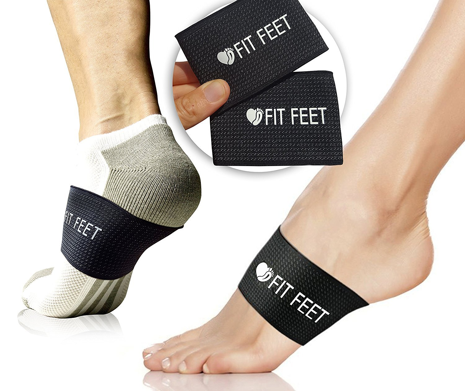 Fit Feet Compression Arch Support - 2 Plantar Fasciitis Braces/Sleeves. GUARANTEED Highest Fit Feet Content. Foot Care, Heel Spurs, Feet Pain, Flat Arches (1 PAIR Black - One Size Fits All)