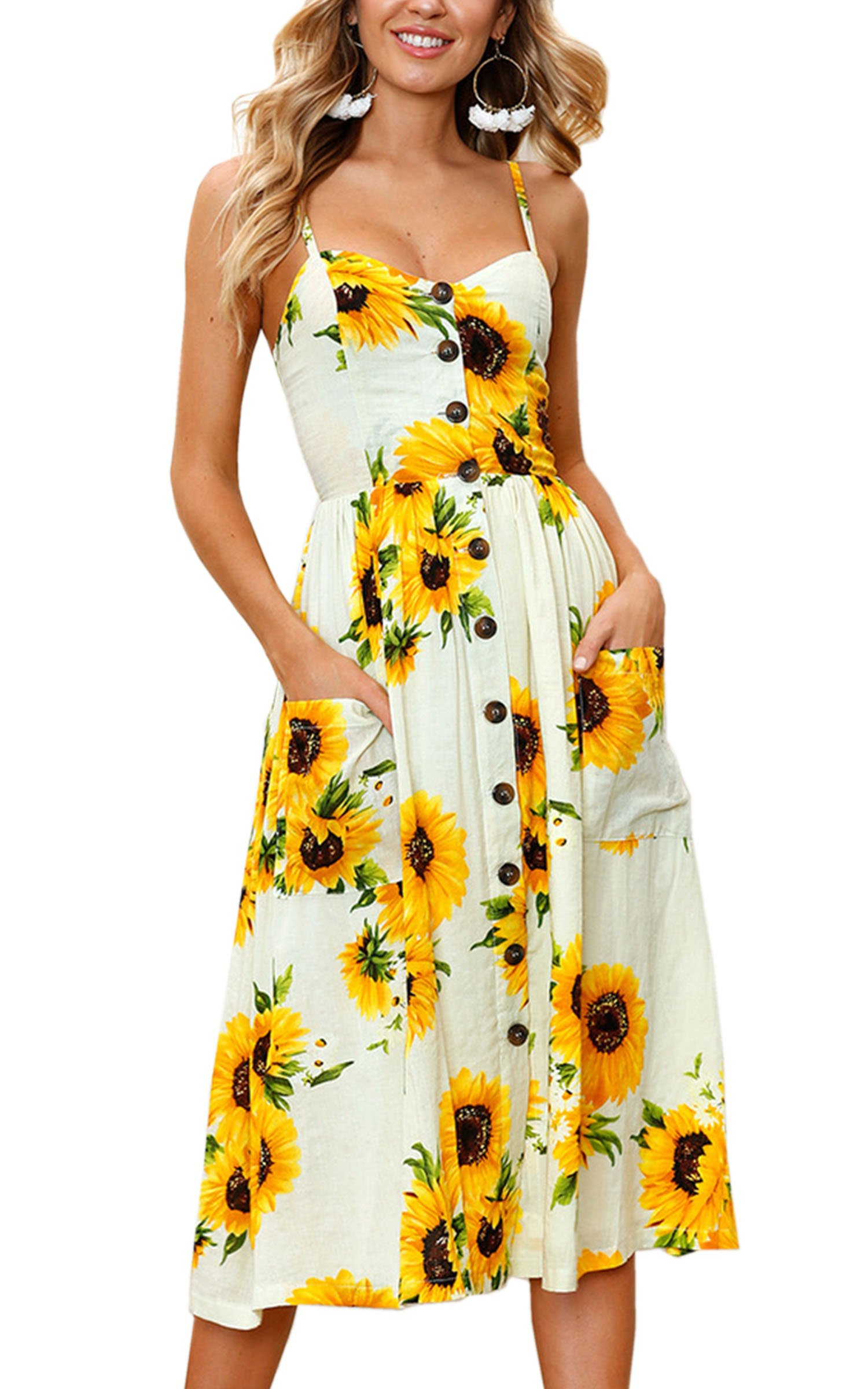 Women's Dresses-Summer Floral Button Down Swing Midi Dress with Pockets 3