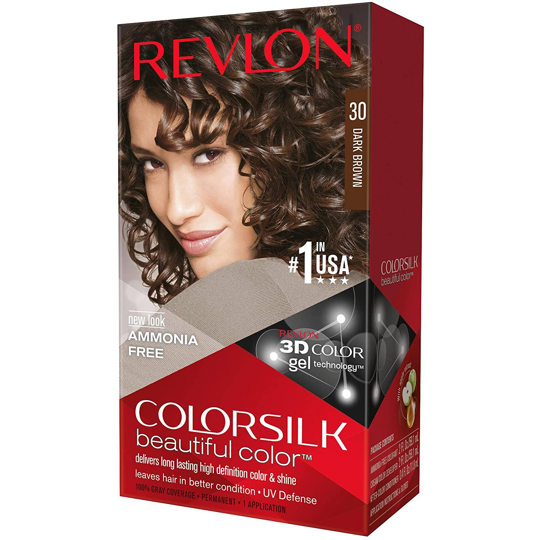 Revlon ColorSilk Hair Color, 30 Dark Brown 1 ea (Pack of 3)