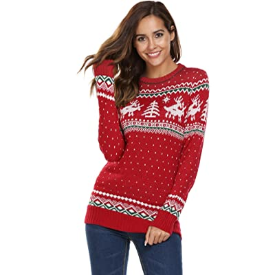 Cosbeauty Unibelle Womens Christmas Sweater Reindeer Snowflakes Long Sleeve Round Neck Sweater Pullover
