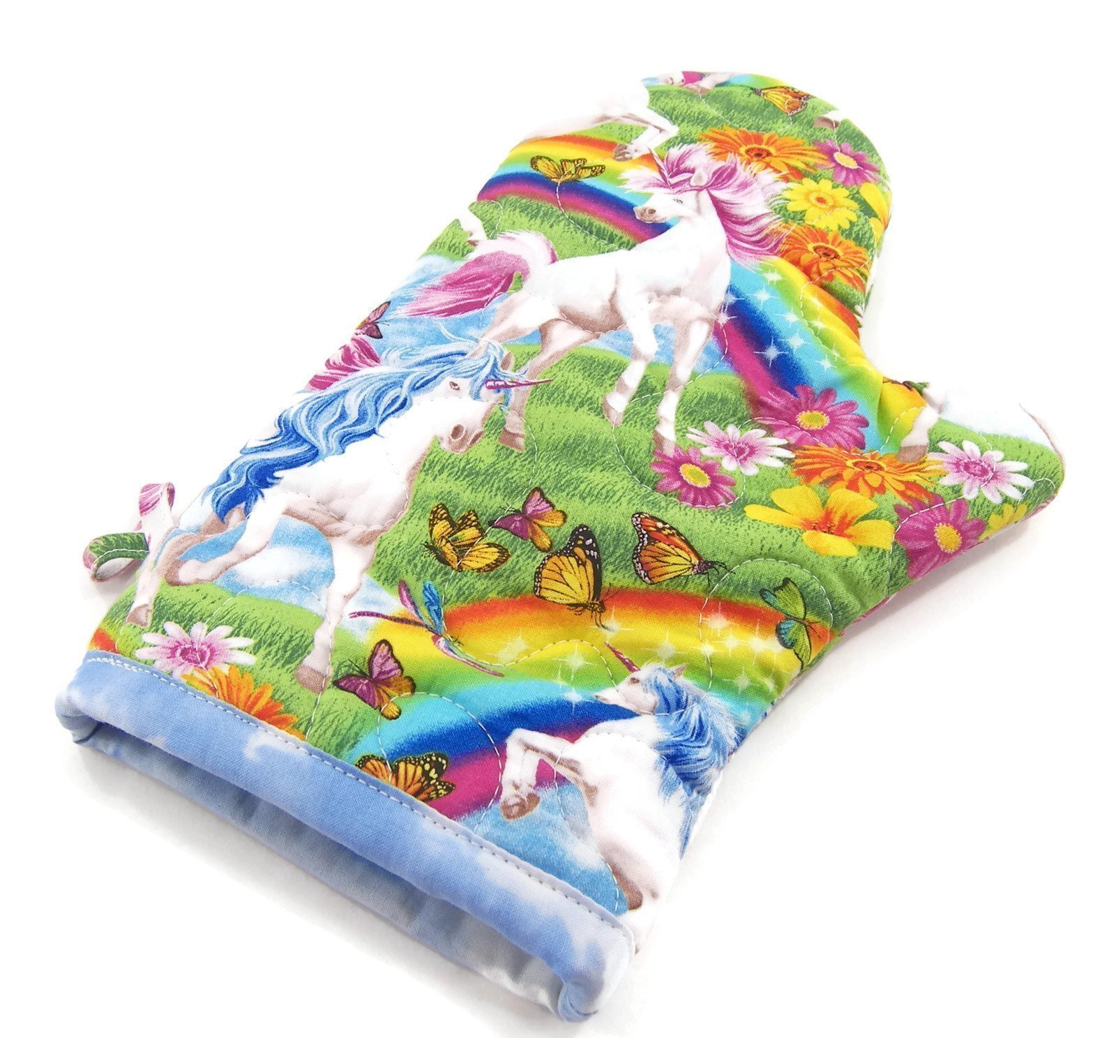 Unicorns and Rainbows Oven Mitt - Insulated Pot Holder - Cotton Fabric 8