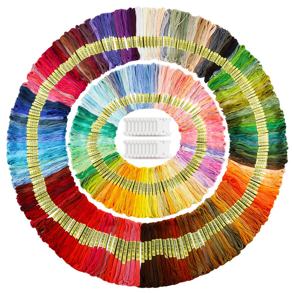 Caydo Embroidery Floss 50 Skeins, Friendship Bracelets String with 12 Pieces Floss Bobbins