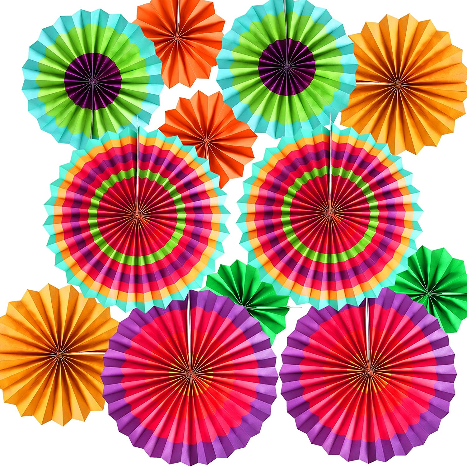 Set Of 6 Fabulous Purple Paper Fan Hanging Decorations in 3 Sizes! Fun Colorful Party Decor!