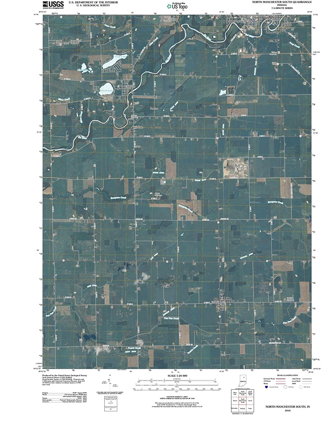 North Manchester Indiana Map.Amazon Com Indiana Maps 2010 North Manchester South In Usgs