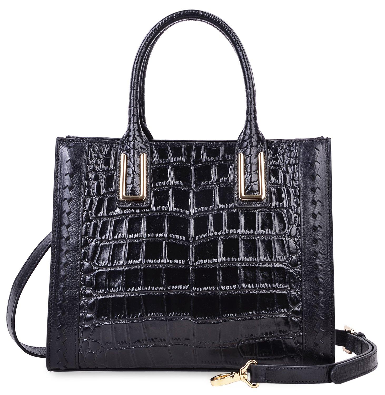 PIJUSHI Women Top Handle Satchel Handbags Designer Leather Tote Bag 27010(Black Croco)