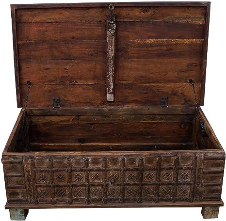 Guru-Shop Pecho, Caja de Madera, Mesa de Centro en Estilo Colonial,