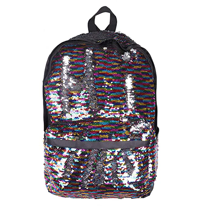 Amazon.com: FEESHOW Girls Sequin Backpack Glitter Bling Rucksack School Bag Women Sparkle Casual Daypack Colorful One Size: Clothing