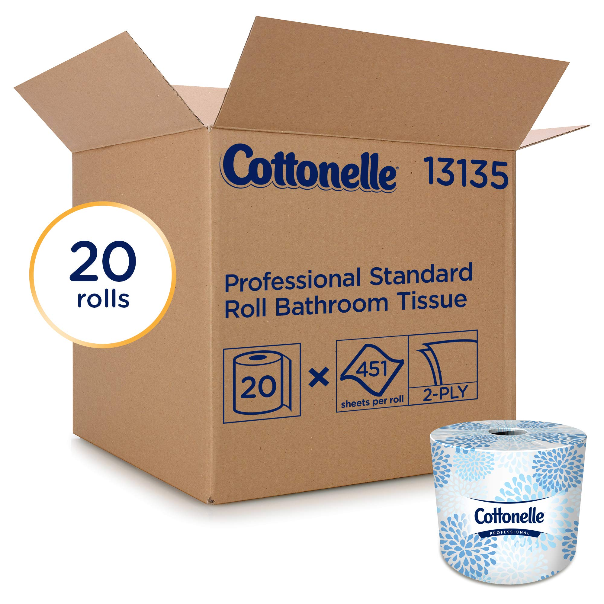 Cottonelle 13135 Two-Ply Bathroom Tissue, 451 Sheets per Roll (Case of 20 Rolls) by Cottonelle