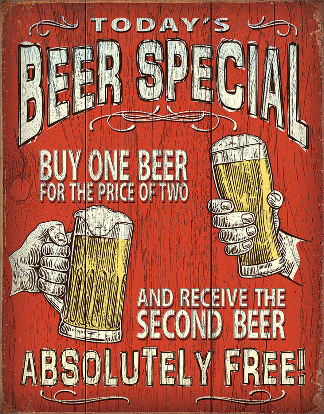 """Desperate Enterprises Today's Beer Special Tin Sign, 12.5"""" W x 16"""" H"""