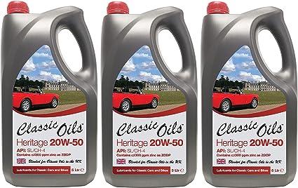 Classic Oils Heritage 20W50 - Aceite Mineral de Zinc para Coches ...