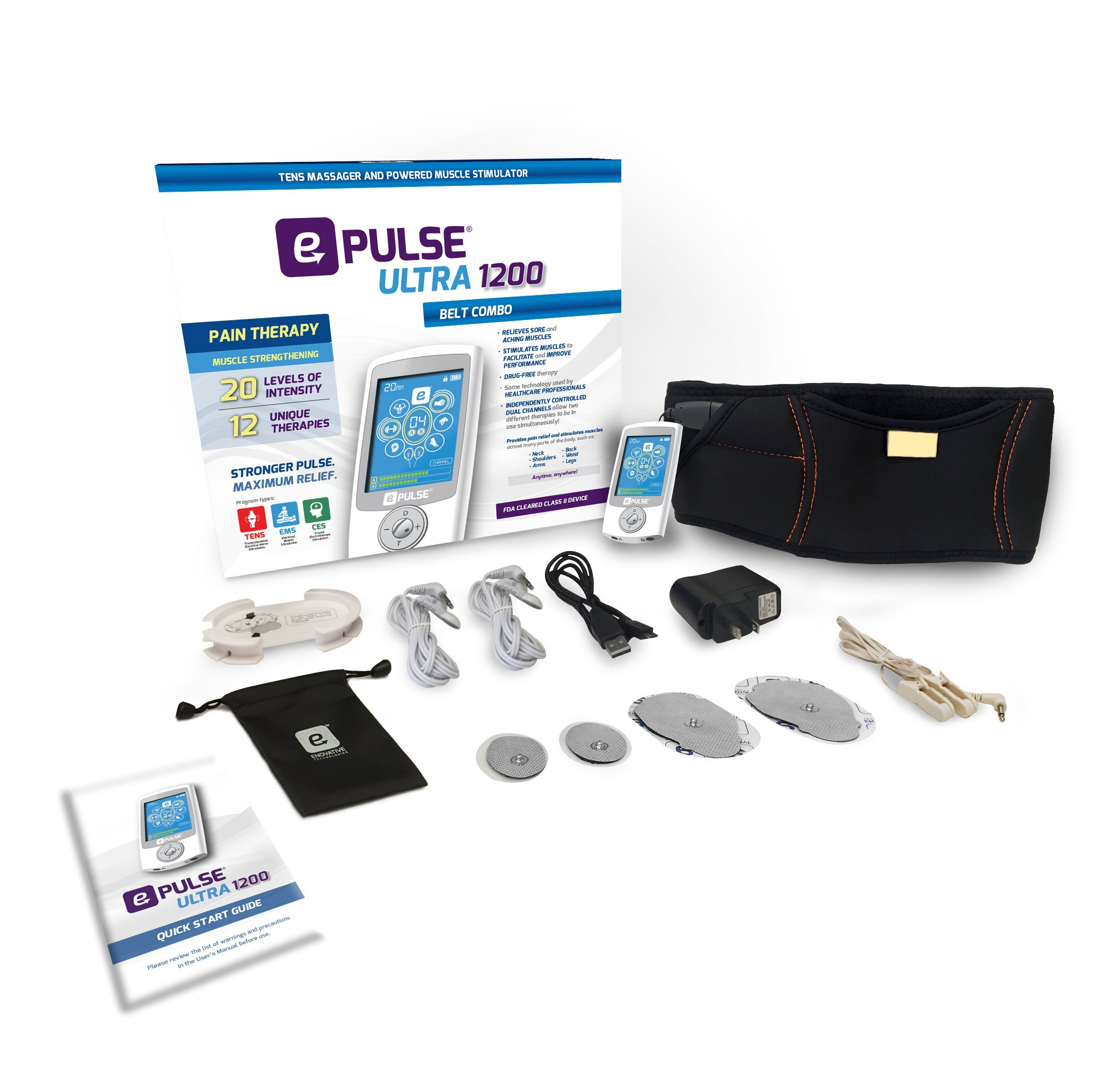 ePulse Ultra 1200 Advanced TENS & Electrostimulating Back Belt for Drug-Free Pain Relief - 12 TENS & EMS Therapies - FDA-Cleared OTC TENS Device