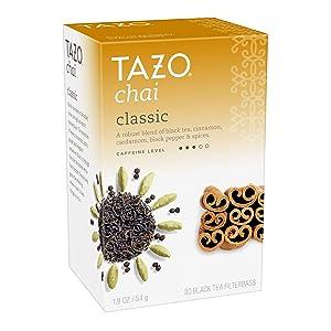 Tazo Black tea Classic Chai 20 Tea Bags, Pack of 6