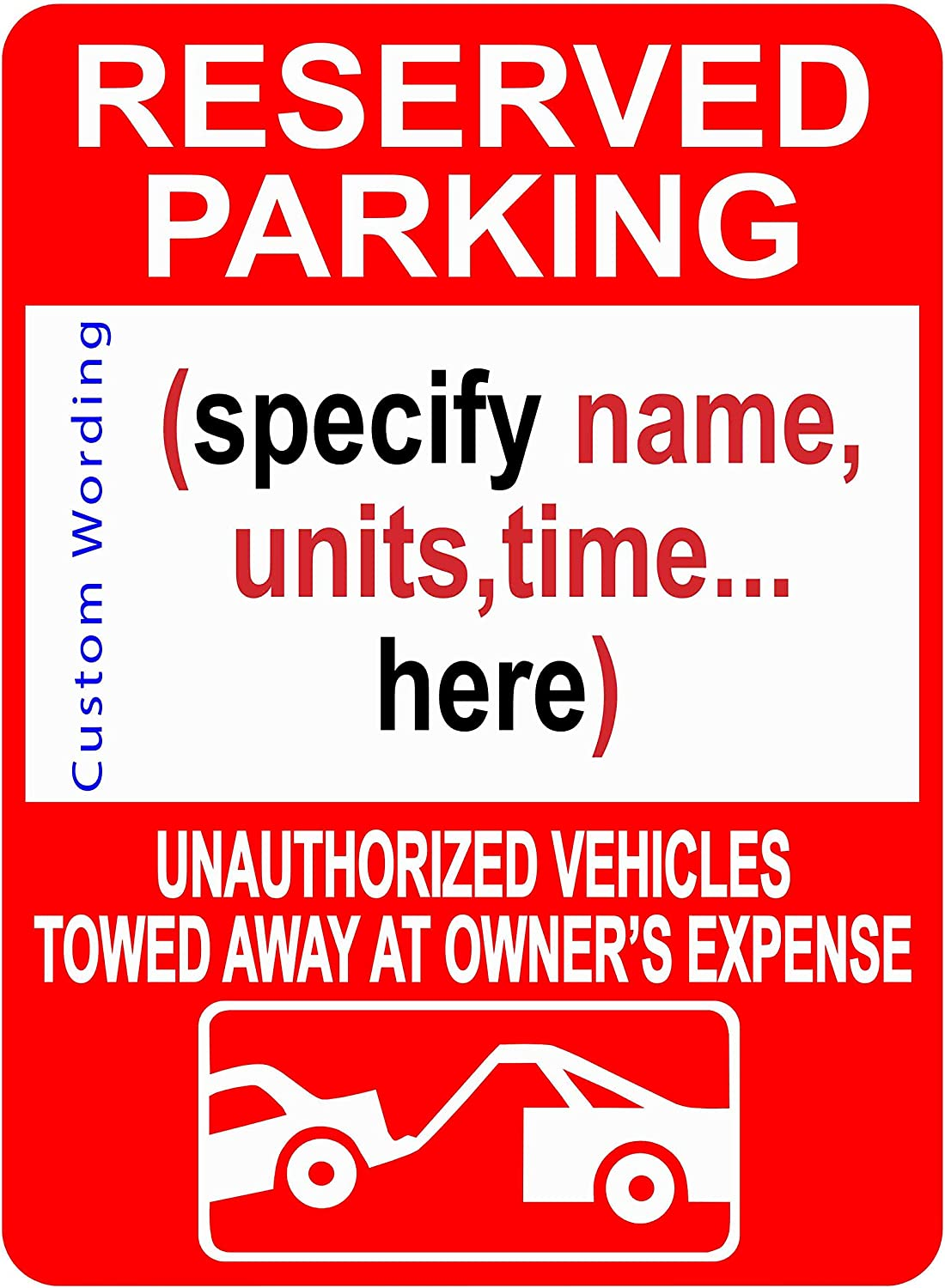 """Custom Reserved Parking Sign - Personalized Parking Sign for Customers, Employees, Guests, Commercial Grade .06"""" Rust-Free Aluminum, 3M Reflective - Engineering Grade Prismatic (EGP) 18""""x12"""""""