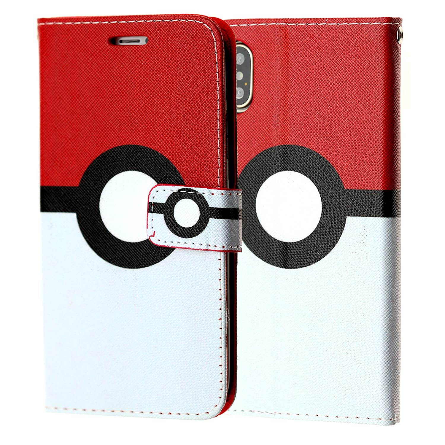 on sale 899f5 42e1a Iphone X Wallet Case, DURARMOR Iphone X Pokemon Poke Ball PU Leather Folio  Wallet with ID, Credit Card, Cash Slots Flip Stand Cover Protector Carrying  ...