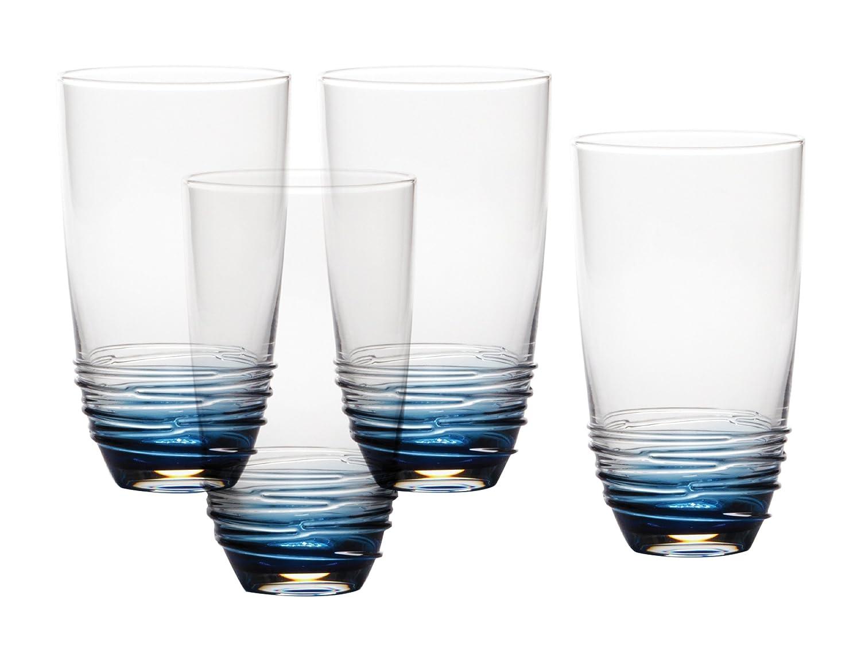 Mikasa Swirl Cobalt Highball Glass (Set of 4), 20 oz 5131190