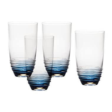 Mikasa Swirl Cobalt Highball Glass (Set of 4), 20 oz