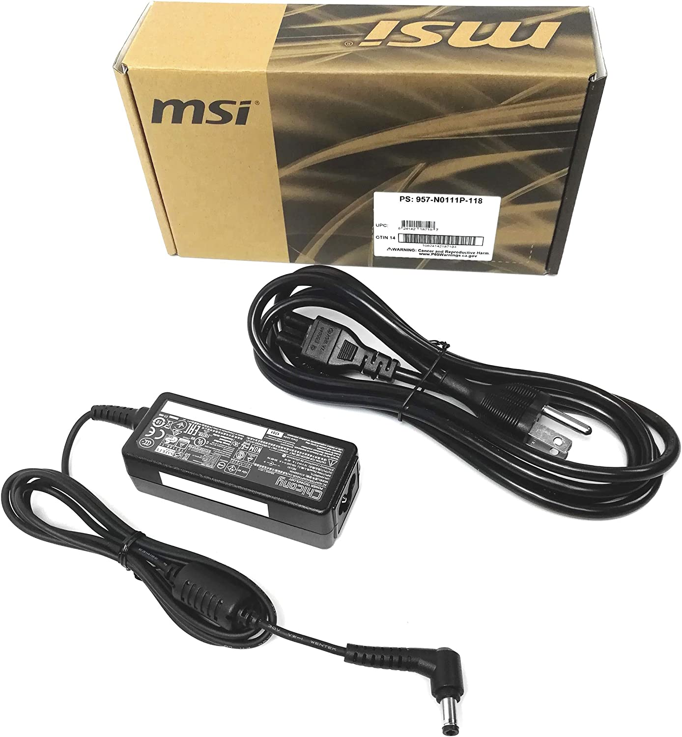 Genuine 40W AC/DC Power Adapter (957-N0111P-118) for MSI PS42 (UMA only) Laptops