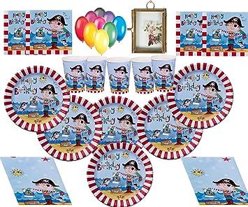 Pirate Party Supplies Fiesta Infantil Pirata Decoraciones de cumpleaños Platos Tazas Servilletas Tapa de Mesa con Globos y Marco de Fotos gratis-16 ...